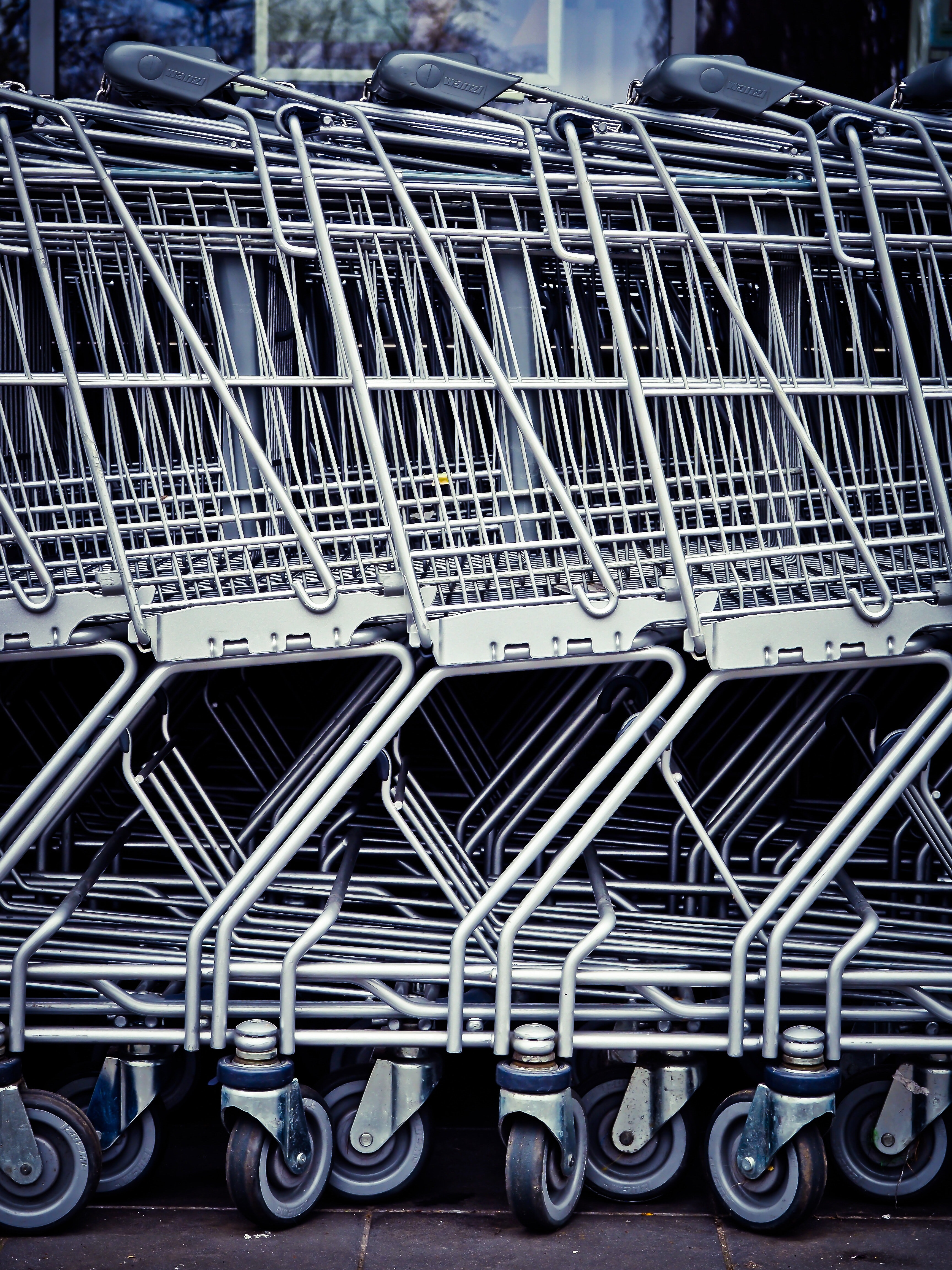 Row of silver shopping carts