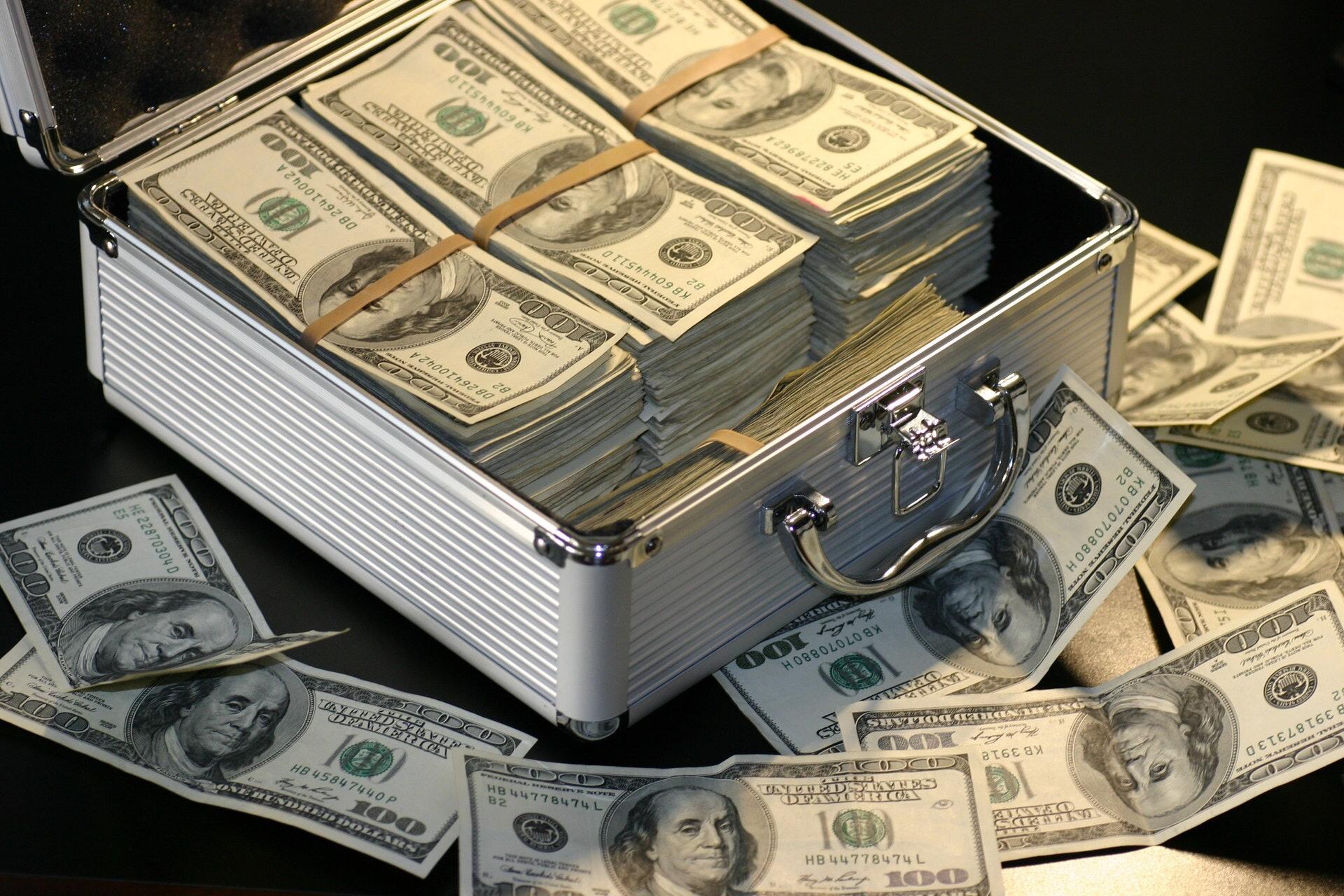 Briefcase full of 100 dollar bills