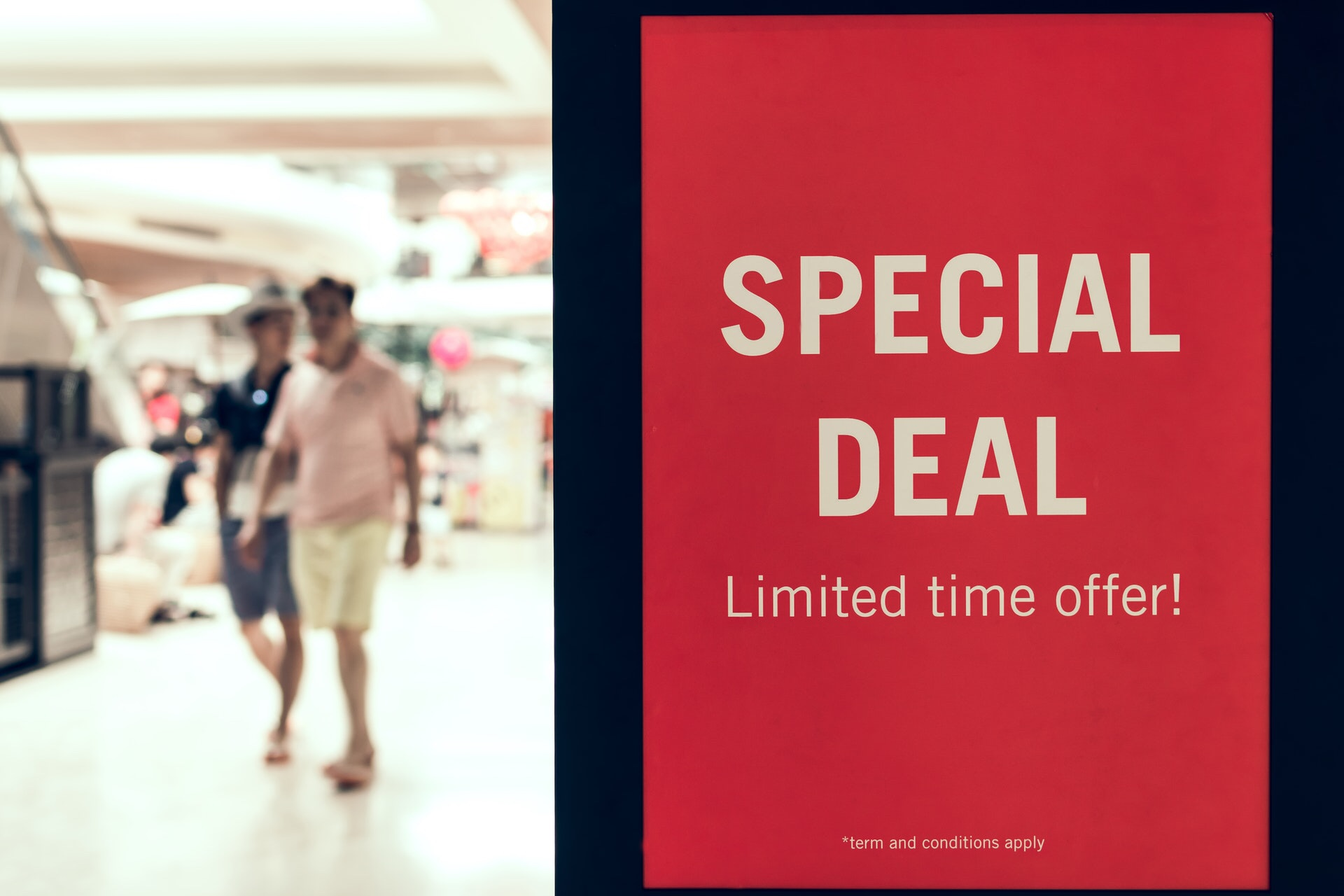 Special deal sign at a store to help customers save money