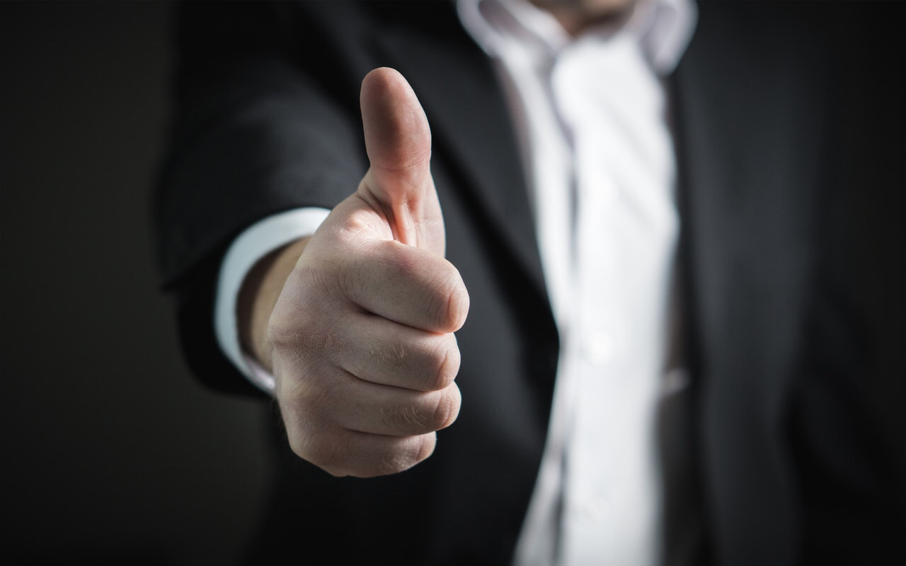 Man giving a thumbs  up