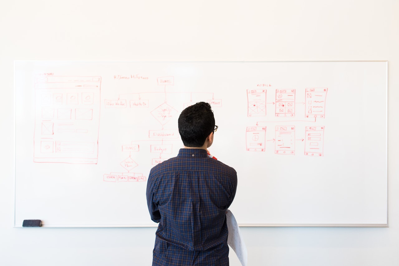 Man working on a whiteboard