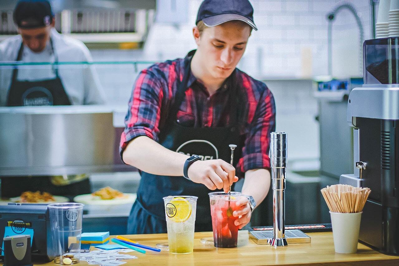 Man making drinks