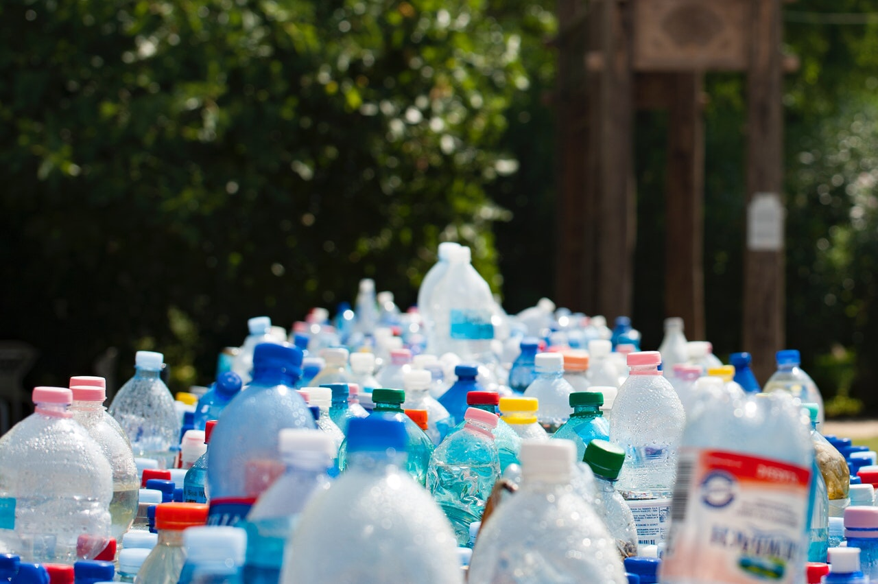 Bottles being recycled