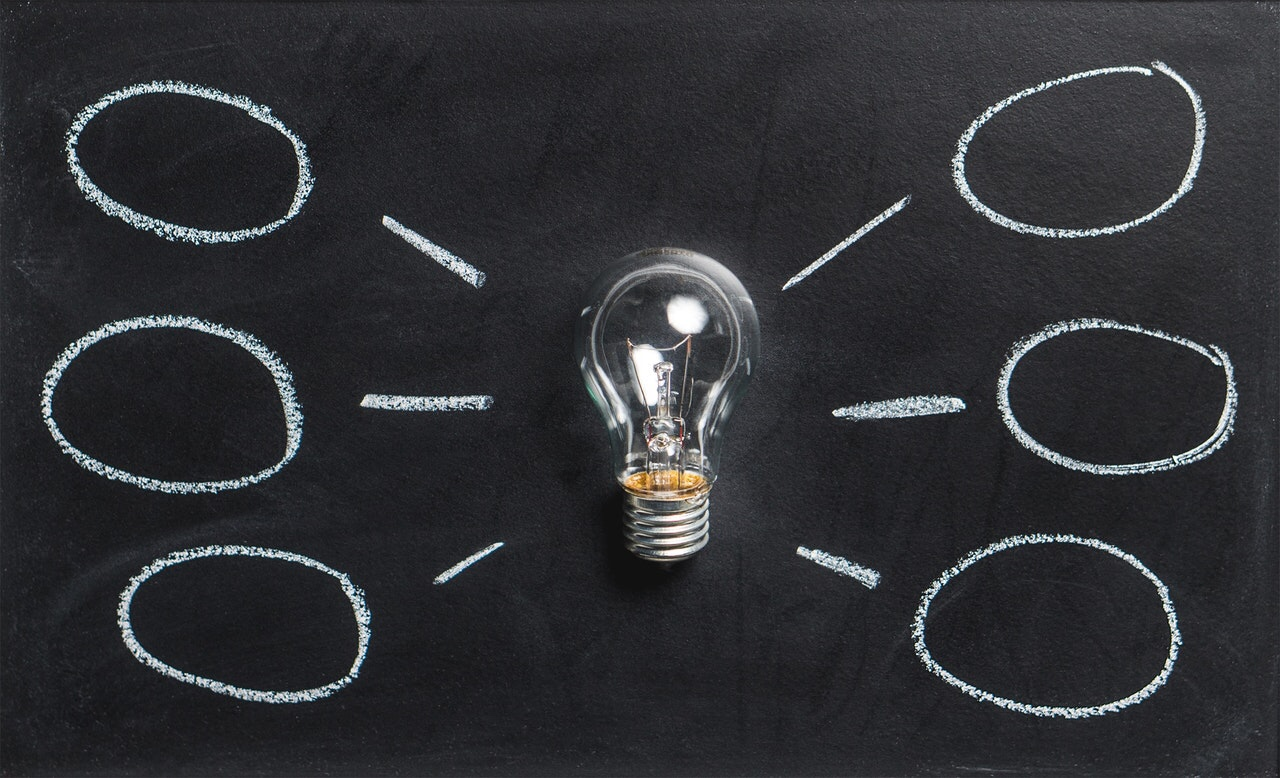 Light bulb on a chalk board