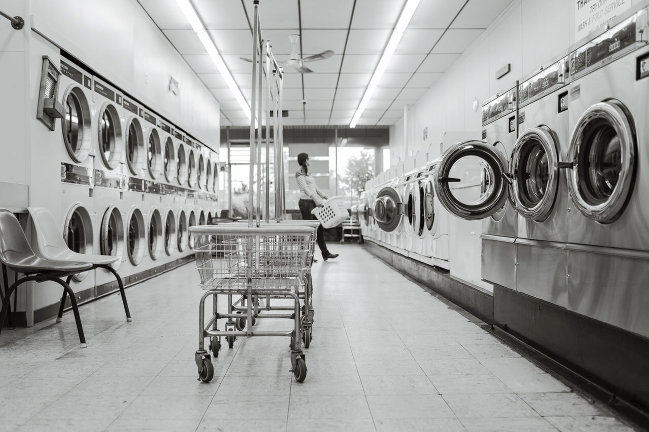 Black and white laundromat