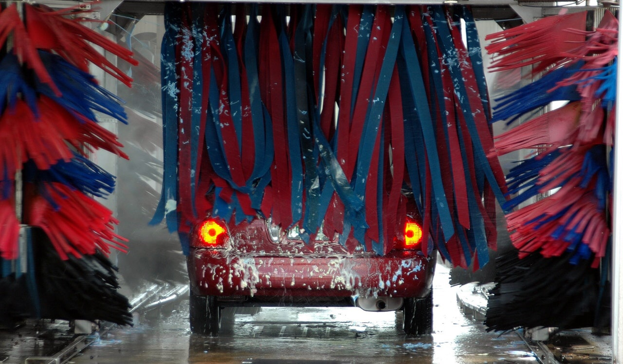 Car going through a car wash