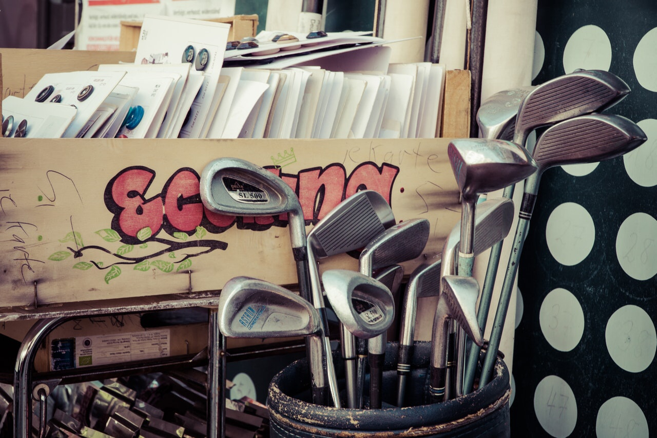 Golf clubs at a flea market