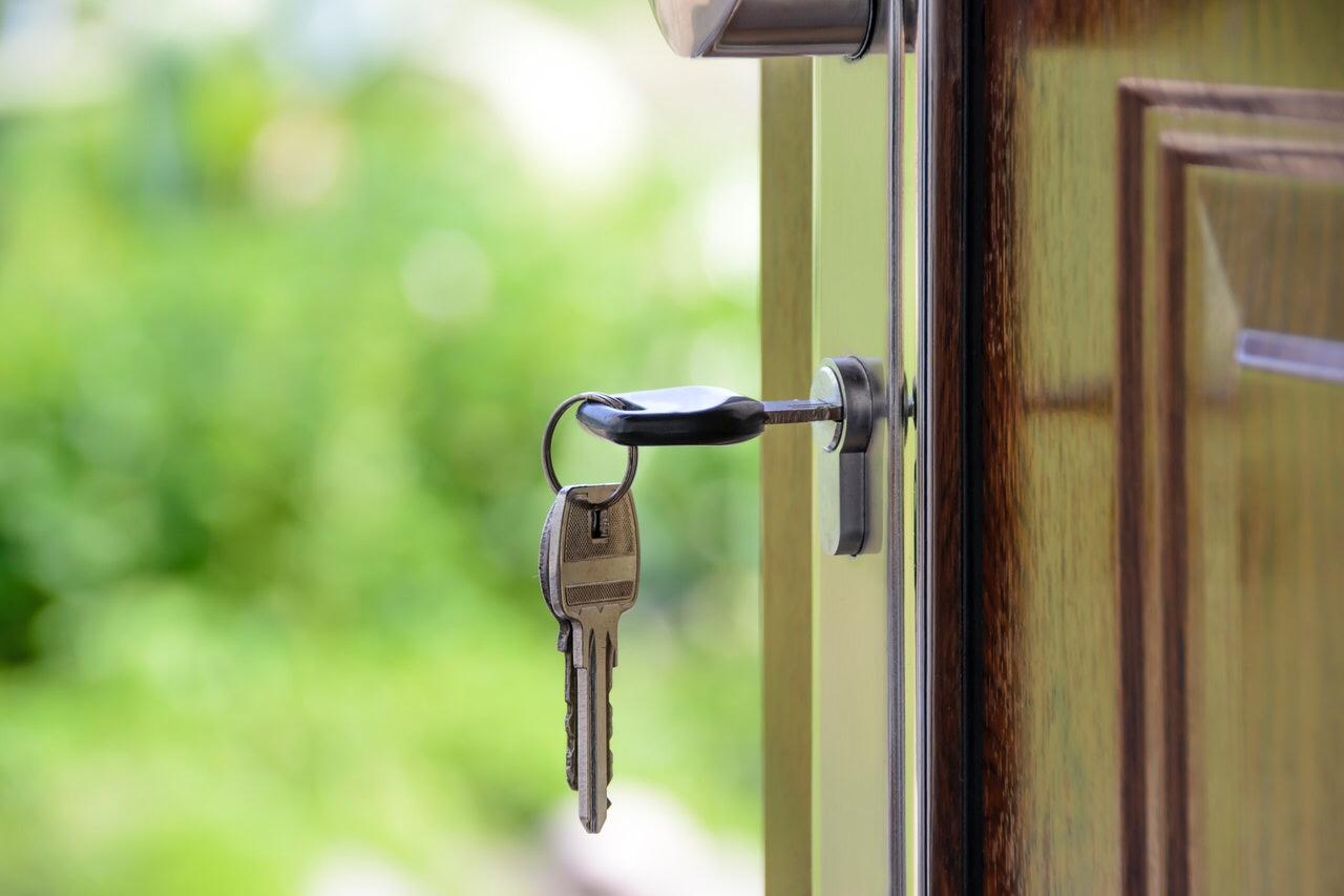 Keys in a door